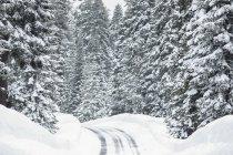 Verschneite Straße mit Eisglätte in den Bergen; keno, oregon, vereinigte staaten von amerika — Stockfoto