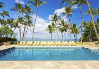 Tropical Resort Pool With Lounge Chairs, Palm Trees, And Ocean View — Stock Photo