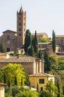 Каменные здания и церковь на ландшафте, покрытые деревьями; Сиена, Тоскана, Италия — стоковое фото