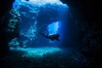Taucher schwimmt durch Lava Bögen mit Sonnenstrahlen, Kathedralen Tauchplatz; Lanai City, Lanai, Hawaii, Vereinigte Staaten von Amerika — Stockfoto