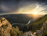 Scenic view of the Sulak canyon and the river at the sunset, Dubki, Dagestan Republic, Russia — Stock Photo