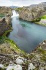 Magnífico mirador de la colina de la cascada de Hjalparfoss y el río a través de un valle de flores de altramuz, Islandia - foto de stock