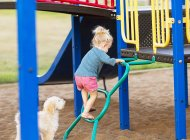 Young girl playing in playground with pet dog — Stock Photo