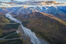 Aerial view of the glaciers and mountains of Kluane National Park and Reserve, near Haines Junction, Yukon, Canada — Stock Photo