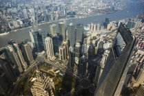 Aerial view of Pudong, Shanghai, China — Stock Photo