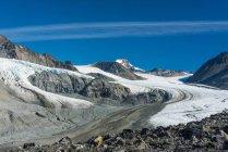 Живописный вид долины ледника Гулкана на Восточном Аляскинском хребте в Юго-центральной части Аляски солнечным летним днем; Аляска, Соединенные Штаты Америки — стоковое фото
