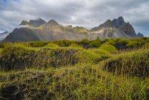 Vista panorâmica da montanha Vestrahorn, ou a área conhecida como Stokknes, Hofn, Islândia — Fotografia de Stock