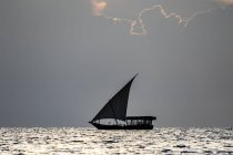Дау на закате Индийского океана; город Занзибар, остров Унгуджа, Занзибар, Танзания — стоковое фото