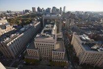 Hochwinkelige Ansicht der Stadtlandschaft, Boston common, Boston, massachusetts, usa — Stockfoto