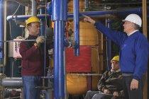 Инженеры электростанции с повреждением спинного мозга, осматривающие трубы деминерализации — стоковое фото