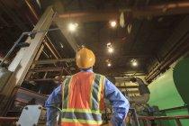Інженер на електростанції вивчає рух над краном. — стокове фото