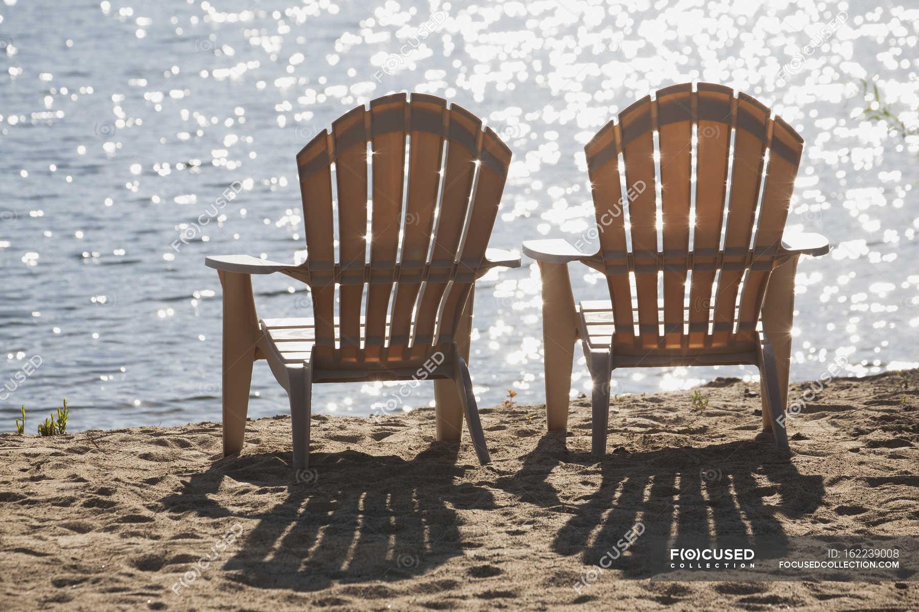 Two Beach Chairs Lake Clarity Stock Photo 162239008