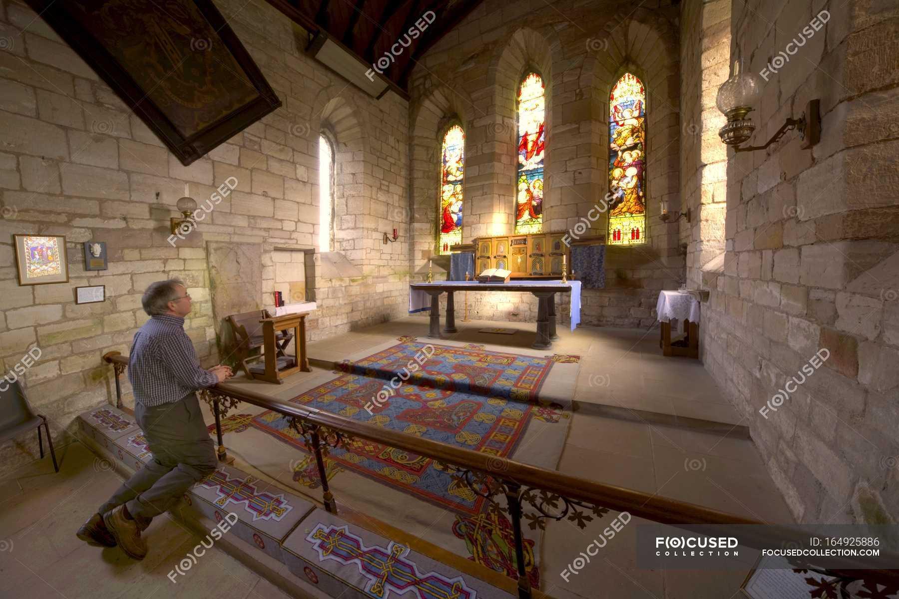 Man Praying In Chapel — background, beautiful - Stock Photo