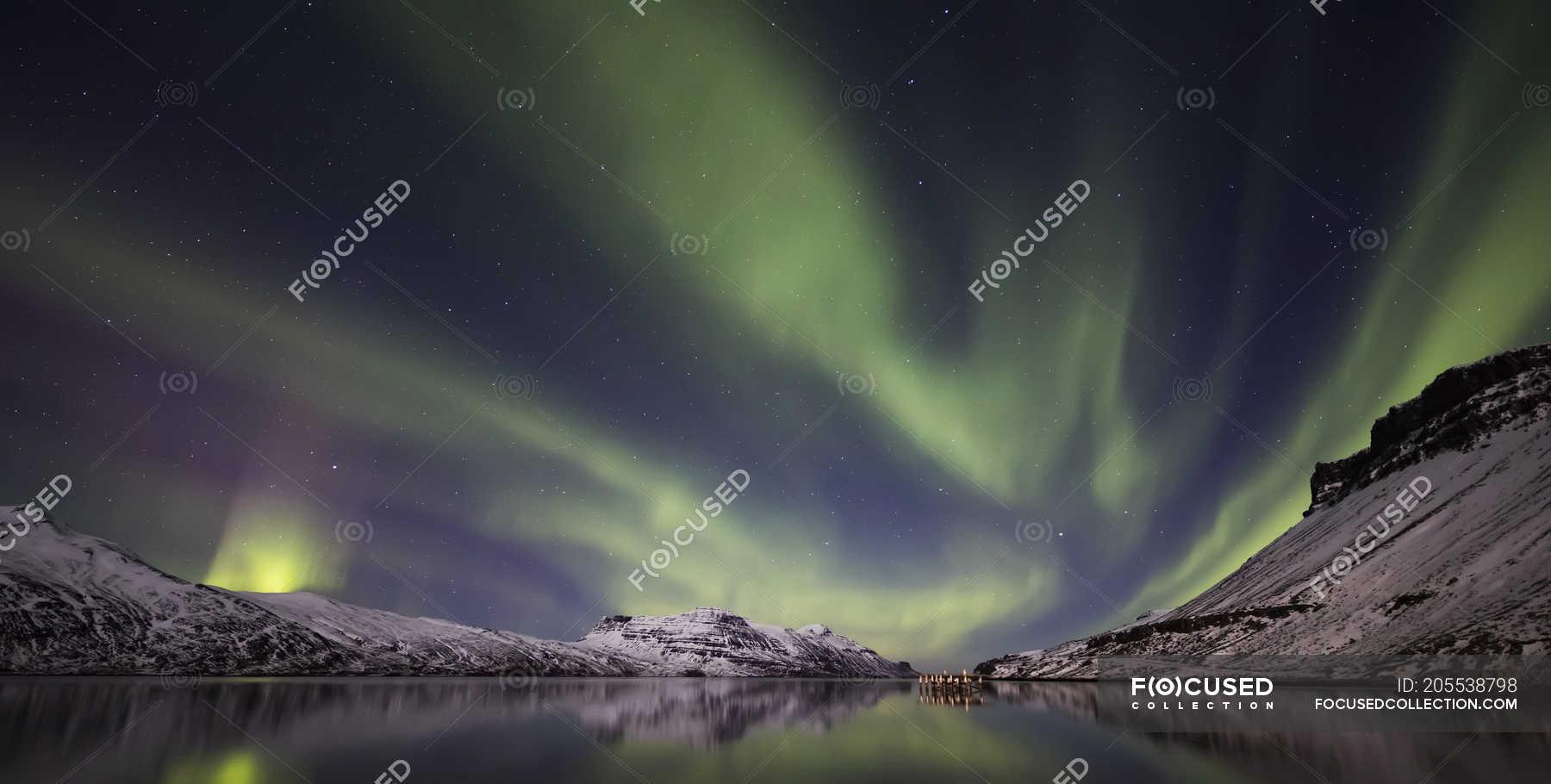 Aurora Borealis Or Northern Lights Djupavik West Fjords Iceland Coastal Travel Destination Stock Photo 205538798