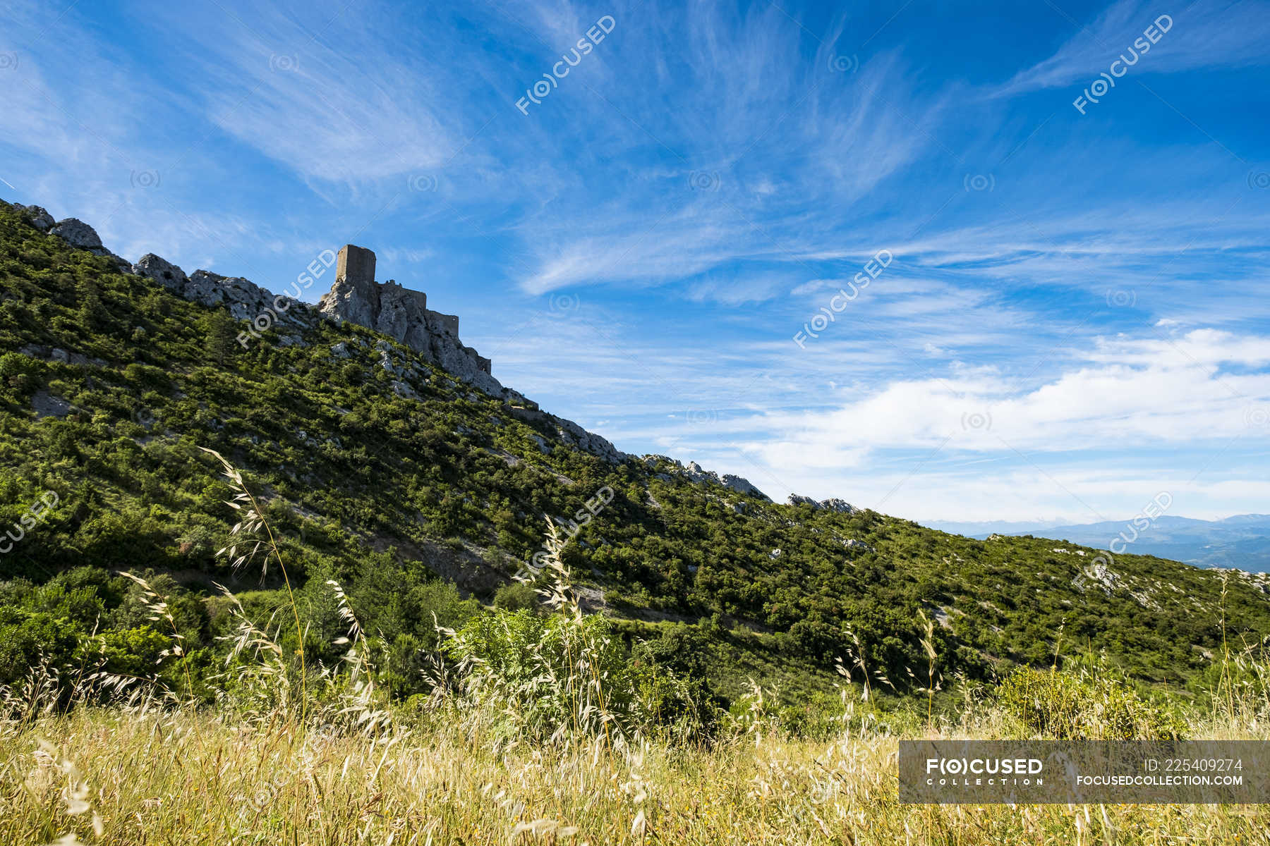 Castle of Queribus within the route of the Cathar castles in the ...
