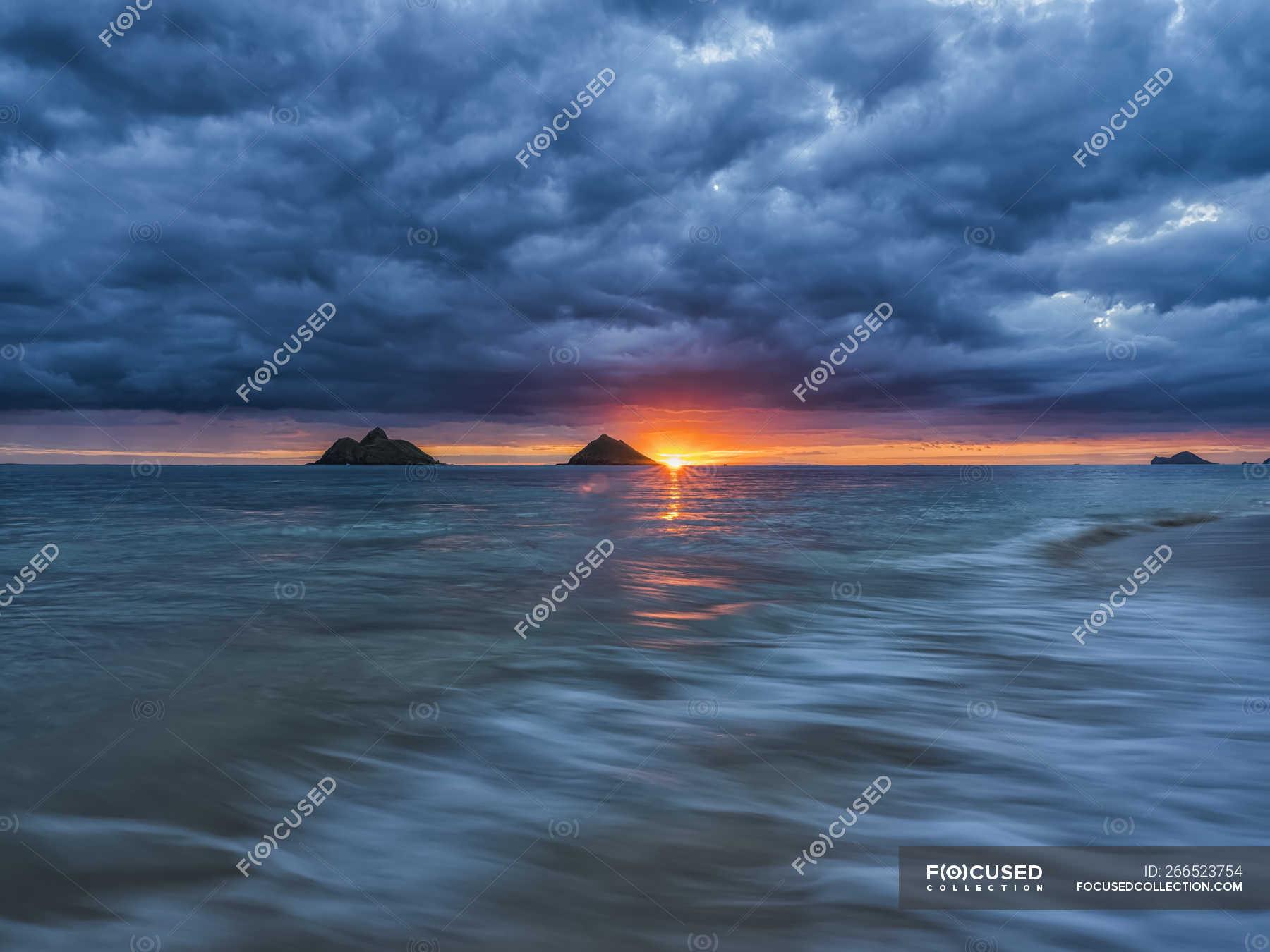 Scenic View Of Sunrise Over Lanikai Beach Oahu Hawaii