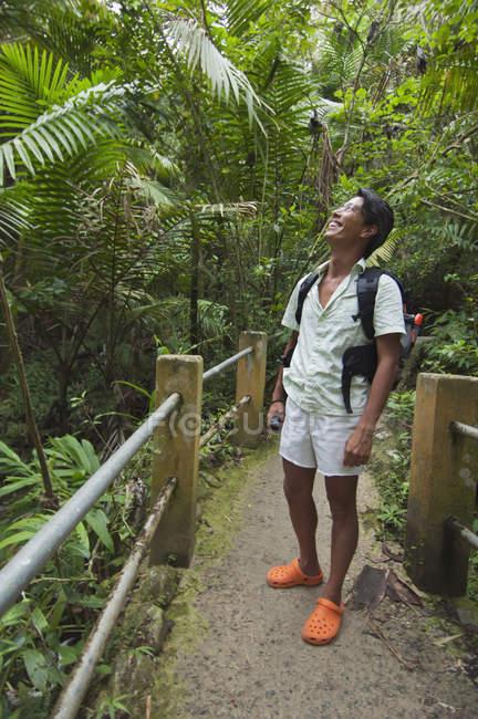 Asiatico uomo in il foresta pluviale indossare zaino — Foto stock