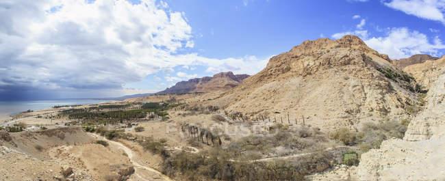 Пейзаж долины Иордании и мертвого моря — стоковое фото