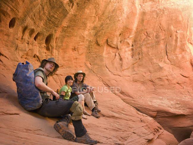 A group of adventure athletes exploring utah slot canyons;Hanksville utah united states of america — Stock Photo