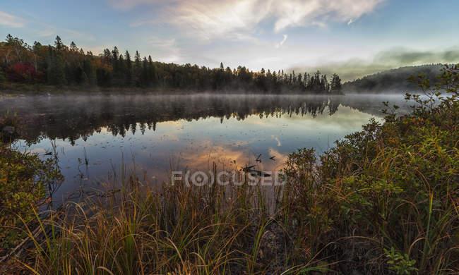 Туман поднимается над озером Костелло на рассвете — стоковое фото