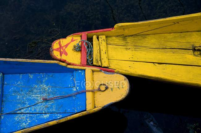Blue and yellow boats — Stock Photo