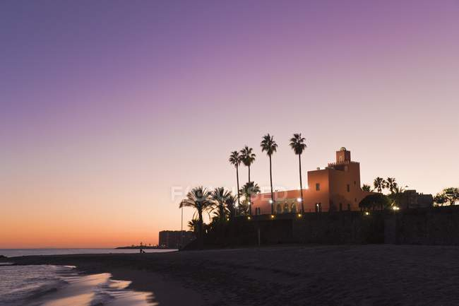 Edificio en playa con palmeras - foto de stock