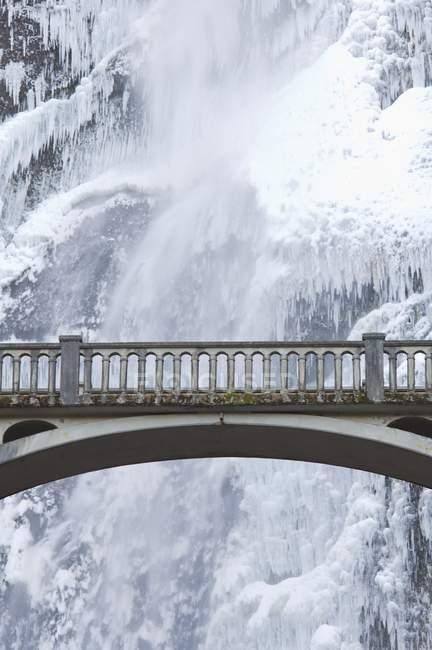 Bridge Over Icy Water, Multnomah Falls — Stock Photo