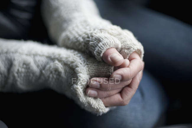 View of Hands wearing gloves — Stock Photo