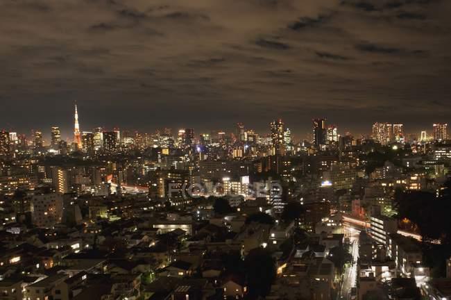 Toits de la ville pendant la nuit — Photo de stock