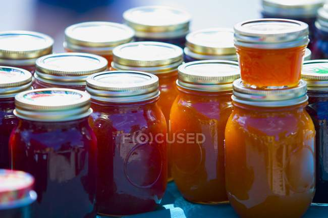 Jars Of Preserves with caps — Stock Photo