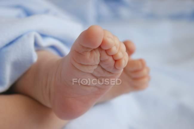 Vista primo piano ritagliato di nudi piedini bambino — Foto stock