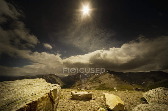 Moody Landscape with sun — Stock Photo
