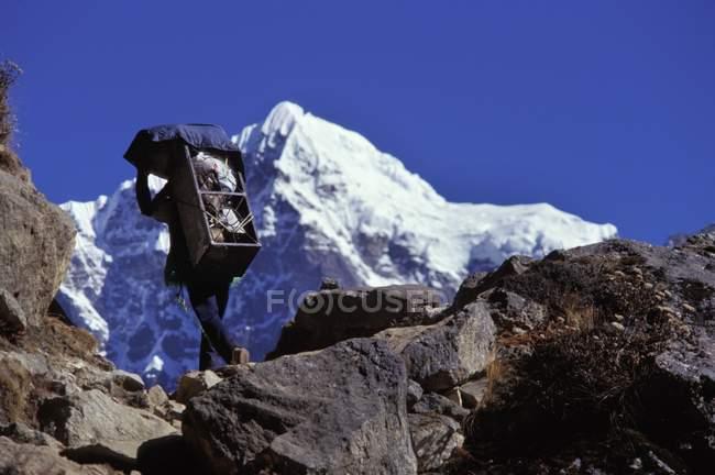 Scalatore di montagna a piedi — Foto stock