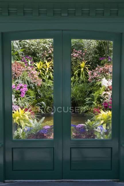 Door To Indoor Garden — Stock Photo