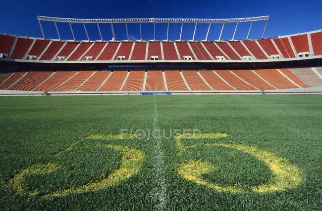 Línea central del estadio de fútbol - foto de stock