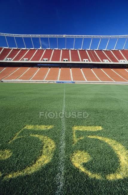 Línea central del estadio de fútbol bajo cielo azul - foto de stock