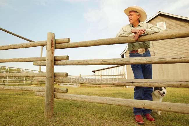 Ковбой в шляпе на ранчо — стоковое фото