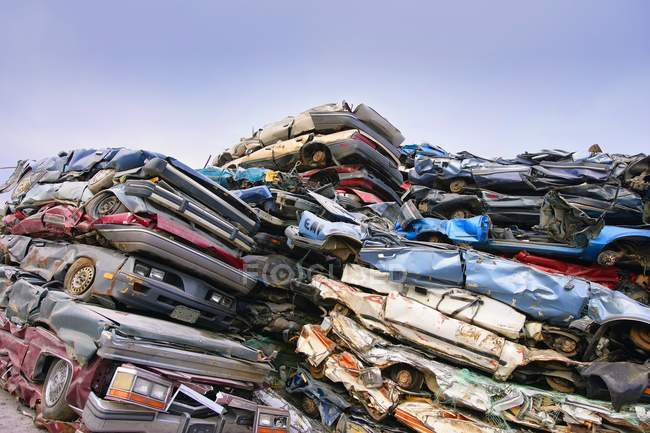 Crushed Cars stacked — Stock Photo