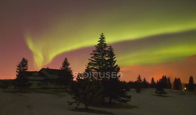 Aurora boreal, Edmonton, Alberta — Fotografia de Stock