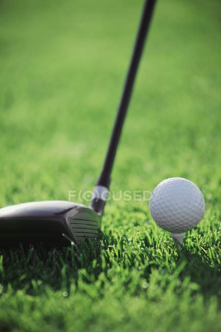 Golf Ball und Schlägerkopf — Stockfoto