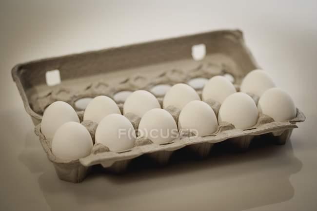 Des douzaines d'œufs dans la boîte à cartes — Photo de stock