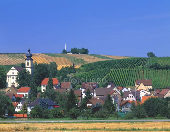 Aldeia de alemão e vinhas — Fotografia de Stock
