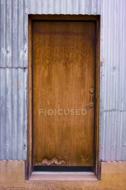 Vertical Image Of Closed Old Wooden Door — Stock Photo