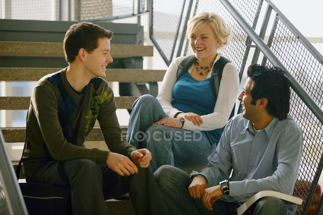 Group Of Multiracial Friends Sitting Together On Stairs — Stock Photo