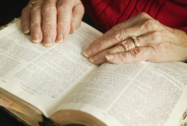 Senior lesen Bibel — Stockfoto