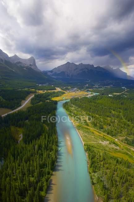 Río rodeado de bosque - foto de stock
