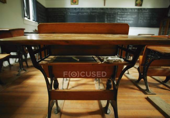 Interior Of Old Fashioned Schoolroom With Furniture — Stock Photo
