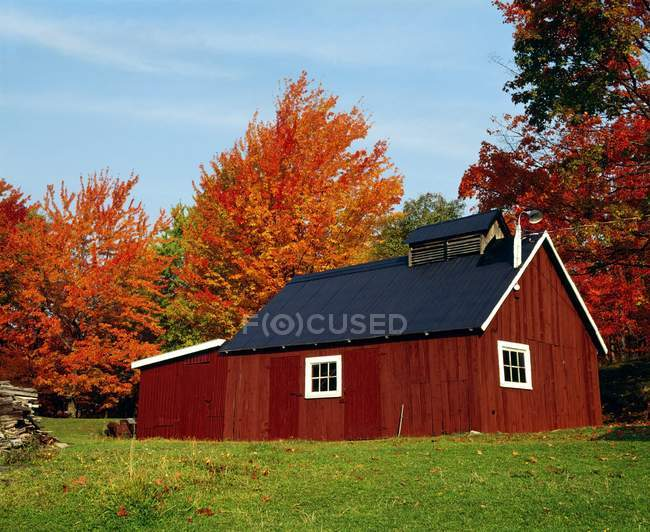 Sugar House With Fall Trees — Stock Photo