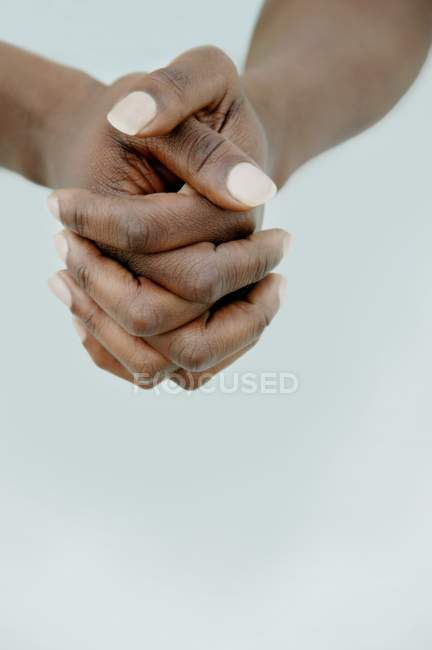Cropped Image Of Black Female Person Iinterlaced hands — Stock Photo