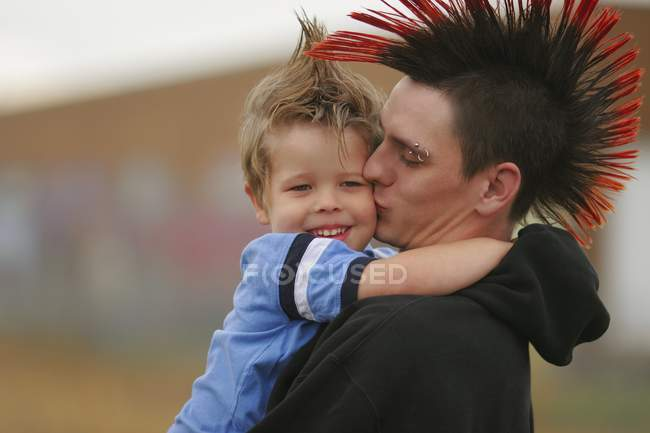 Young Man And Boy With Mohawk Hairstyles — Stock Photo